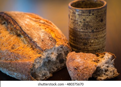 Rustic antique cup and bread