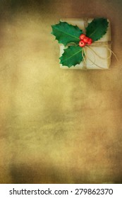 Rustic background with christmas gift