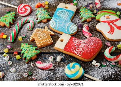 Rustic background with cookies, holiday sweet