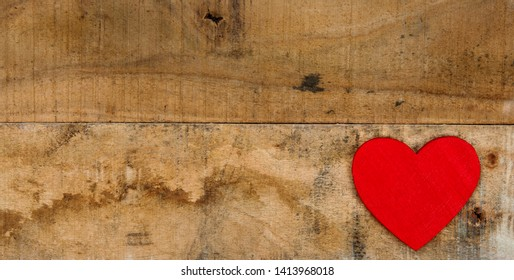 Rustic background, panorama of plain wood - with heart for loving, passion and Valentine's Day designs.
