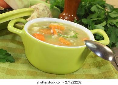 rustic barley porridge with vegetables and parsley