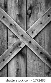 Rustic barn door - Period correct style and materials (Ponderosa Pine) for mid-1800's American Western Frontier (black and white).