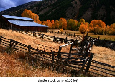 Rustic barn and fall aspens in central Idaho