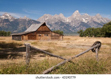 Rustic Barn in Front of the Grant Teton Mountains