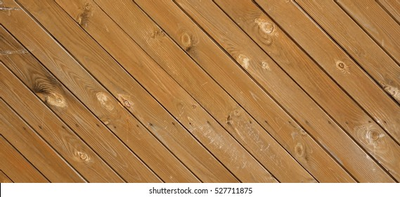 Rustic Barn Wood Wall Wide Horizontal Texture With Tiled Wooden Decorative Planking. Vintage Exterior Or Interior Wood Slats Shabby Background With Diagonal Boards. Peeled Abstract Textured Web Banner