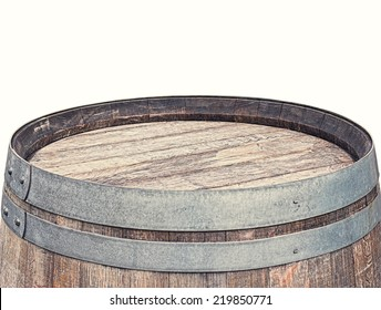 Rustic Barrel Table top isolated on white background