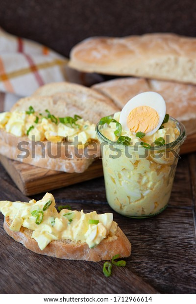 Rustic bread with homemade mayonaise egg salad