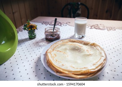 Rustic breakfast with milk from childhood.