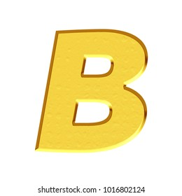 Rustic bright gold uppercase or capital letter B in a 3D illustration with a golden color and rough texture surface in a bold font isolated on a white background with clipping path.