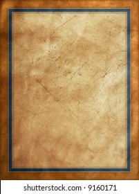 Rustic brown worn sign with blue border