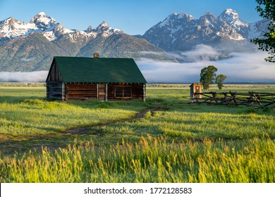 Rustic building, part of the historic Morman Row homestead in Antelope Flats, in Grand Teton National Park Wyoming, at sunrise