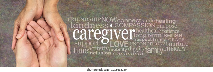 Rustic CAREGIVER word tag cloud - female hands gently cupped around male cupped hands beside the word CAREGIVER surrounded by a relevant word cloud on a rustic stone background