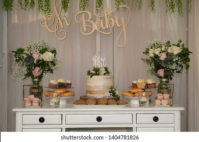 Rustic chic garden theme baby shower cake table