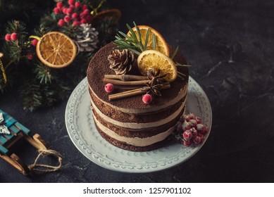 Rustic chocolate Christmas cake
