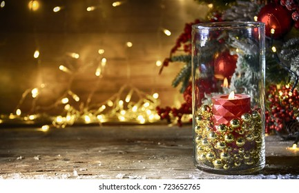 Rustic Christmas background with candle