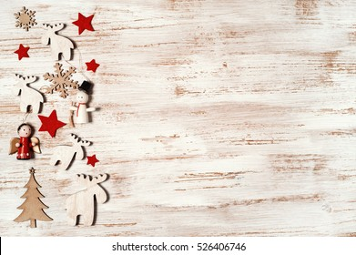 Rustic Christmas Border With Holiday Decoration On Wooden Shabby Chic Background