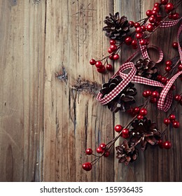 Rustic Christmas Decoration. Christmas background. Copy space. Flatlay