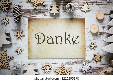 Rustic Christmas Decoration, Paper, Danke Means Thank You