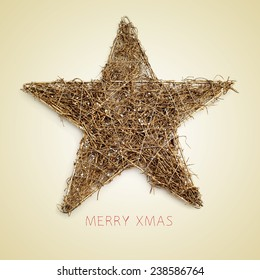 a rustic christmas star and the sentence merry xmas on a beige background, with a retro effect