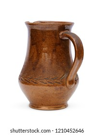 Rustic clay jug back view isolated on white background