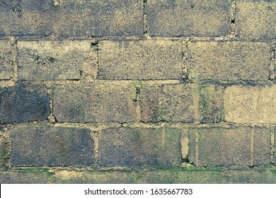 rustic concrete wall background.gray cement block wall for wallpaper.old stained bricks wall horizontal