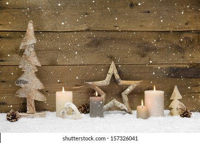 Rustic country background - wood - with candles and snowflakes for christmas
