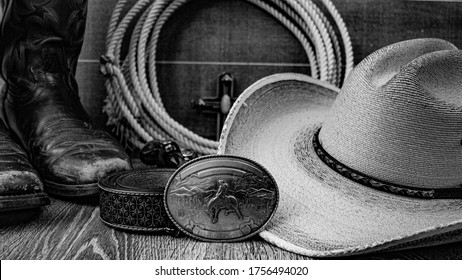 Rustic country western design with an unbranded, blank belt buckle