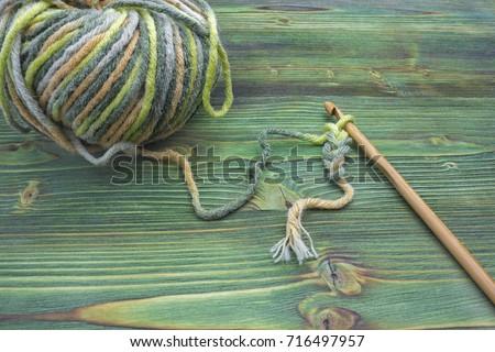 Rustic Crochet Thread Bamboo Hook Warm Stock Photo Edit Now