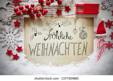 Rustic Decoration, Snow, Calligraphy Froehliche Weihnachten Mean Merry Christmas