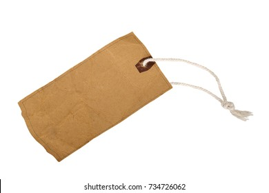 Rustic decorative cardboard paper gift tag with twine isolated on white background