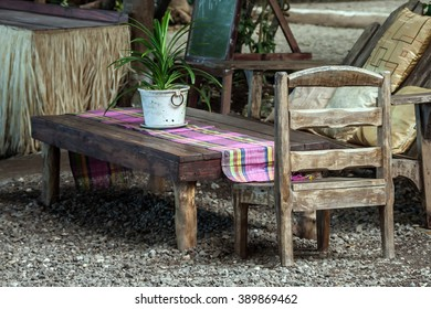 Rustic dinning table with two chairs
