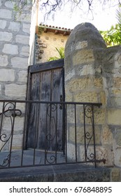 Rustic Door and Steps at Mission Santa Barbara which has been a California landmark since 1820.