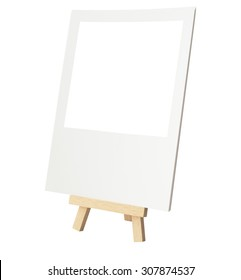 Rustic Easel Style Wooden Tripod (Picture Frame Stand) with Blank Photo isolated on white with clipping path