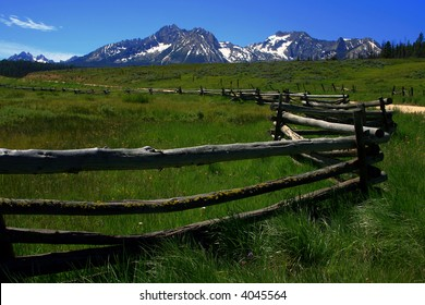 Rustic fence at the foot of the Sawtooth Range, Stanley Idaho
