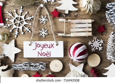 Rustic Flat Lay, Joyeux Noel Means Merry Christmas