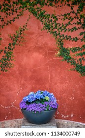 Rustic flowerpot with blue and purple flowers in front of a red stone wall.