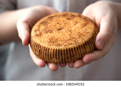 Rustic gourmet cheese in hands of cheese maker, close up. Spicy seasoning hand made cheese.