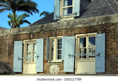 rustic historic building at Nelson's Dockyard, Antigua, Leeward Islands, Caribbean