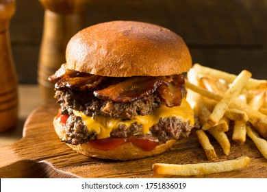 Rustic Homemade Bacon Smashburger with Cheese and Bacon