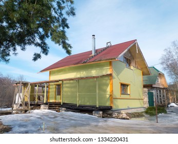 Rustic house construction in Russia
