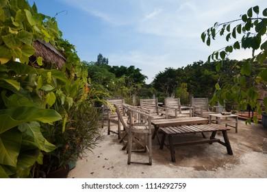 Rustic Indonesian outdoor wood furniture