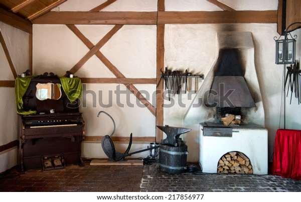 Rustic Interior Old Forge Wood Burning Royalty Free Stock Image