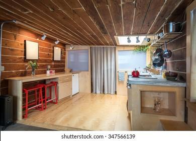 Rustic Kitchen In A Bright Cabin. Interior Design.