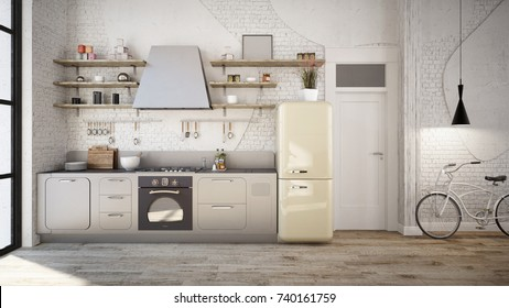 Rustic kitchen interior - 3 d render