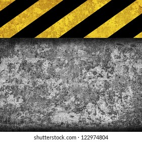 Rustic metal background with warning stripes