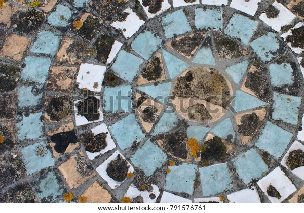 Rustic Mosaic Coloured Tiles On Table Stock Photo (Edit Now