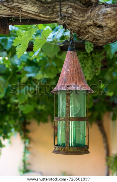 Rustic Old Lamp Green Glass Hanging Vintage Food And