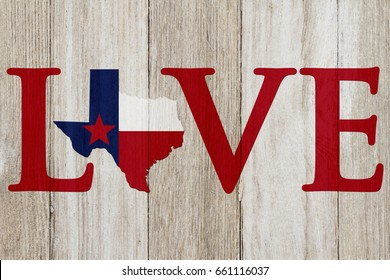 A rustic old Love Texas message, Texas map on weathered wood background with text Love