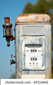 A rustic, old and weather-battered fuel/gas pump in outback New South Wales.