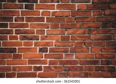Rustic orange clay brick work wall texture, urban background